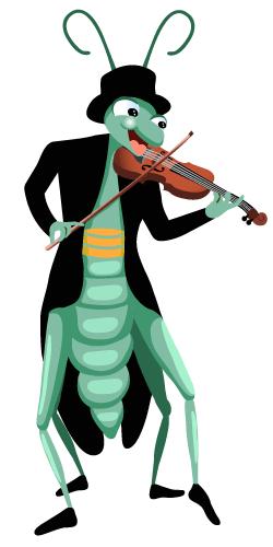 illustration d'une cigale qui joue du violon