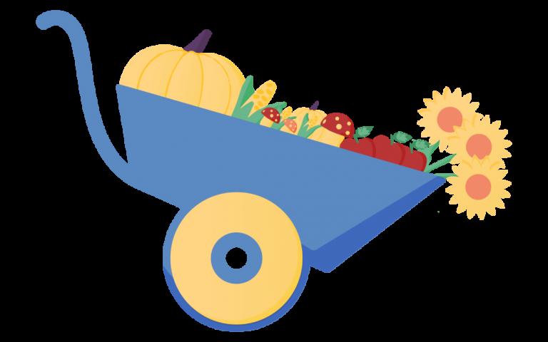 illustration d'une brouette avec des légumes