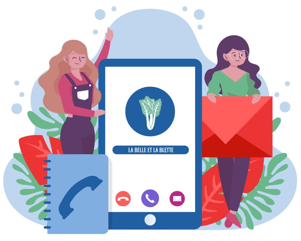 illustration de 2 femmes avec un portable, une enveloppe et un répertoire téléphonique