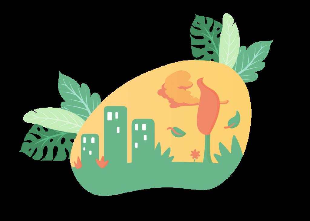 illustration d'espaces verts en ville
