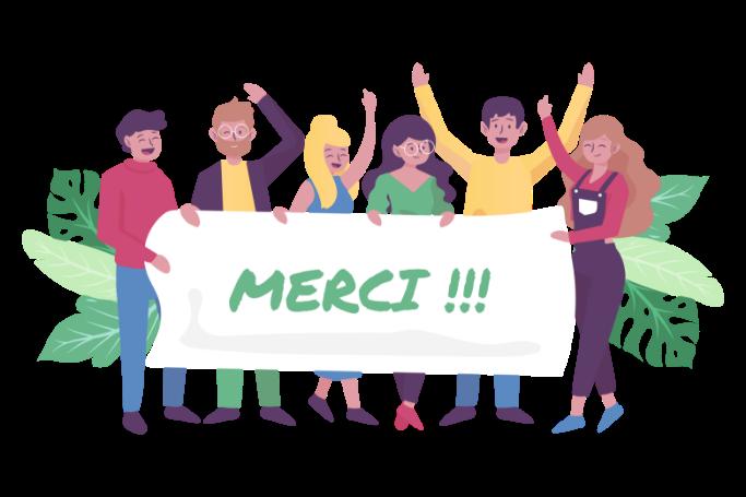 """illustration d'une banderole """"merci"""" tenue par des gens"""