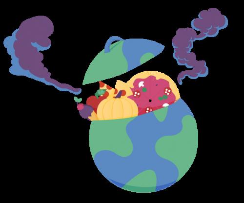Illustration d'une planète poubelle et polluée