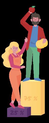 illustration d'une personne avec des fruits et légumes et d'une autre avec rien